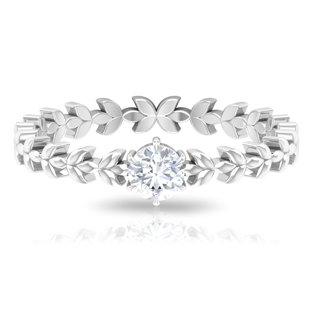 1/4 CT Diamond Solitaire and Gold Leaf Band in 6 Claw Prong Setting