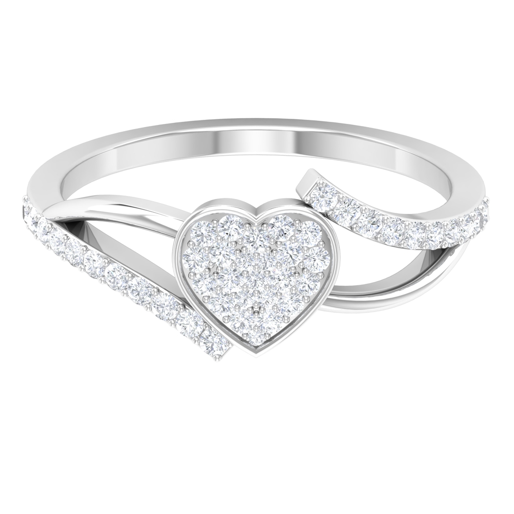 1/2 CT Round Shape Diamond Heart Bypass Engagement Ring for Women