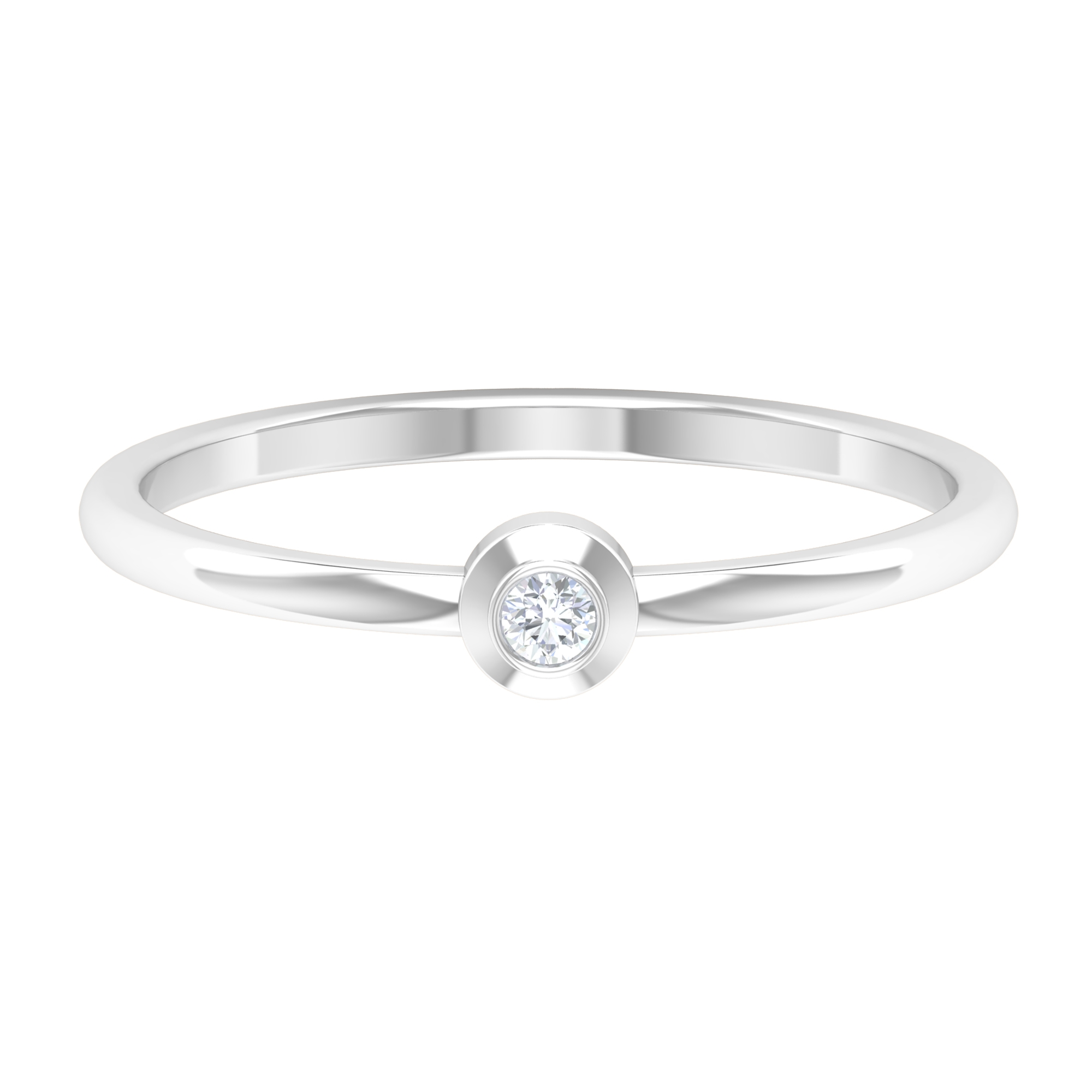 2 MM Dainty Round Cut Diamond and Gold Ring in Bezel Setting