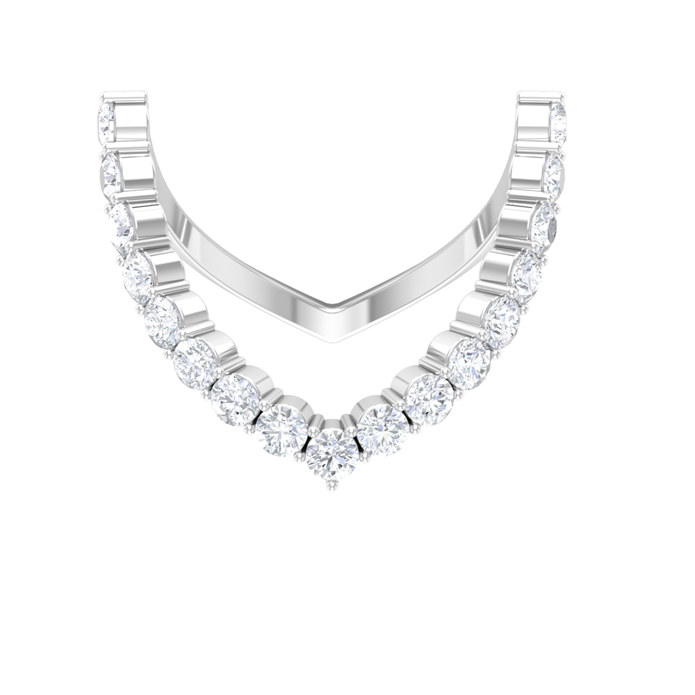 1.25 CT Round Shape Diamond Curved Ring in Shared Prong Setting