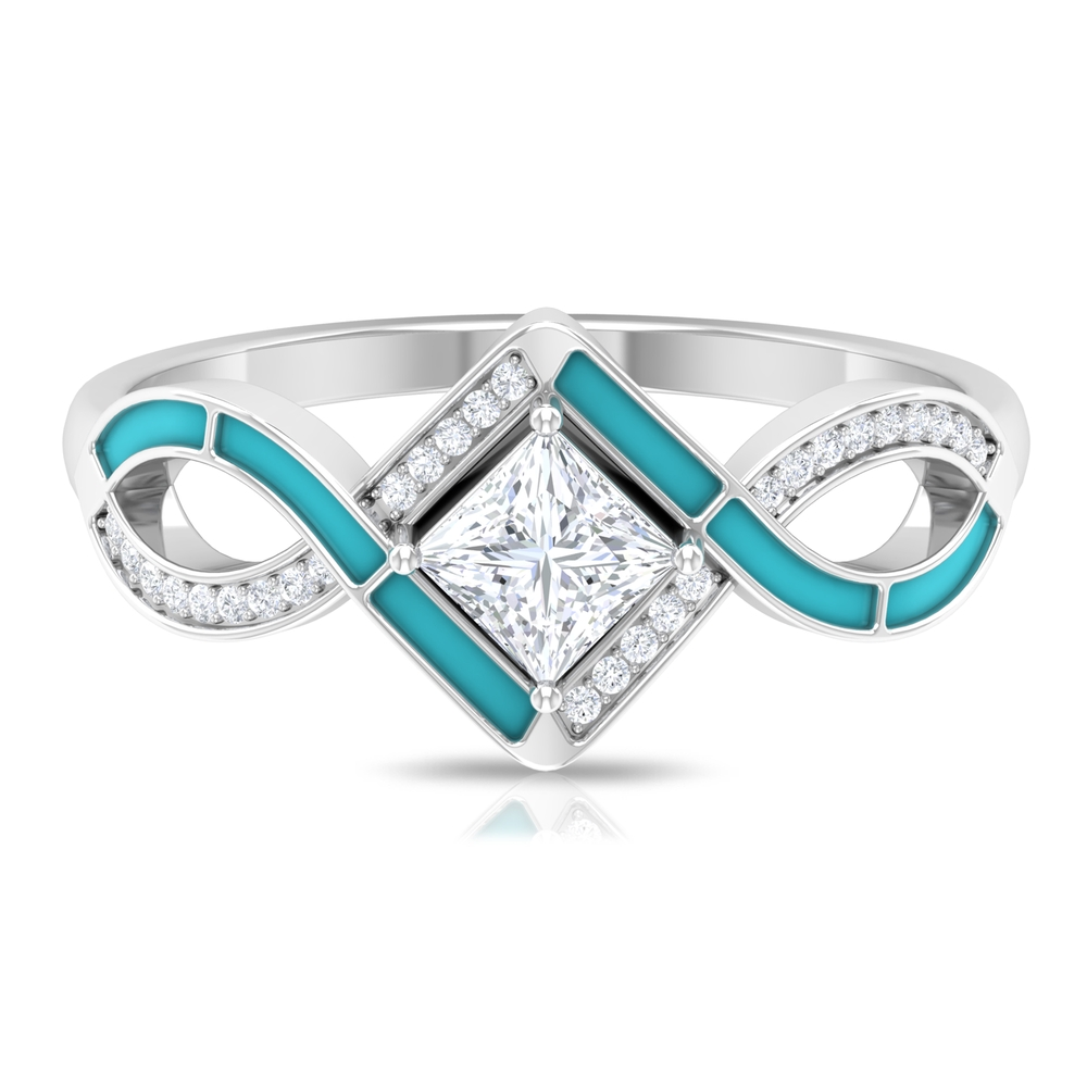 1/2 CT Diamond Criss Cross Ring with Accent and Blue Enamel