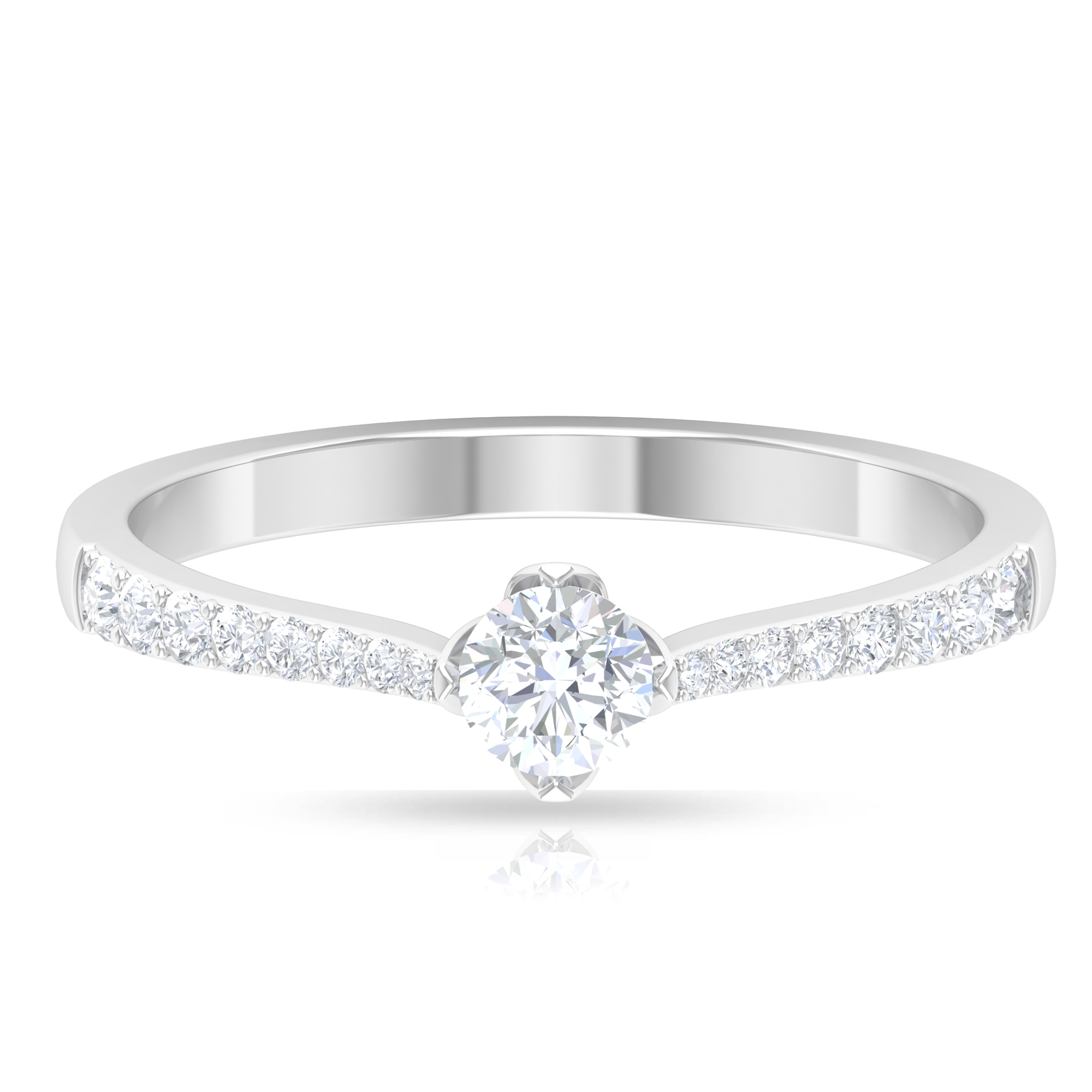 1/2 CT Petal Prong Set Diamond Solitaire Ring with Surface Prong Set Side Stones