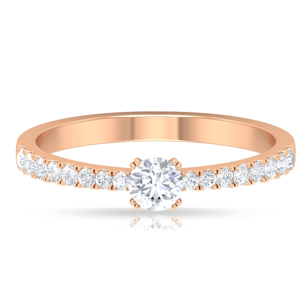 1/2 CT Diamond Solitaire Ring in Double Prong Set with French Pave Set Side Stones