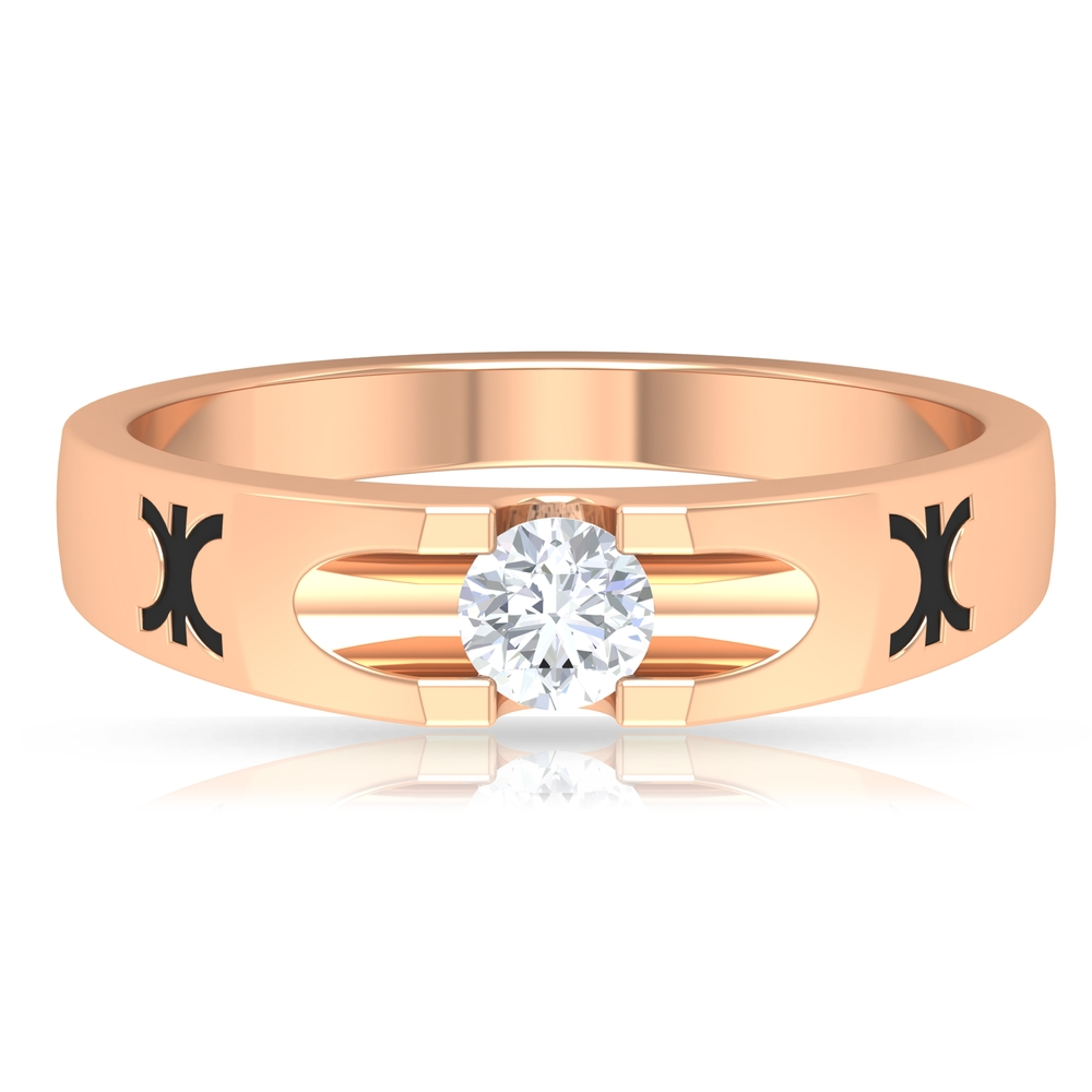 1/2 CT Round Cut Diamond Solitaire Band Ring in Scalloped Prong Seting with Enamel Embellishment