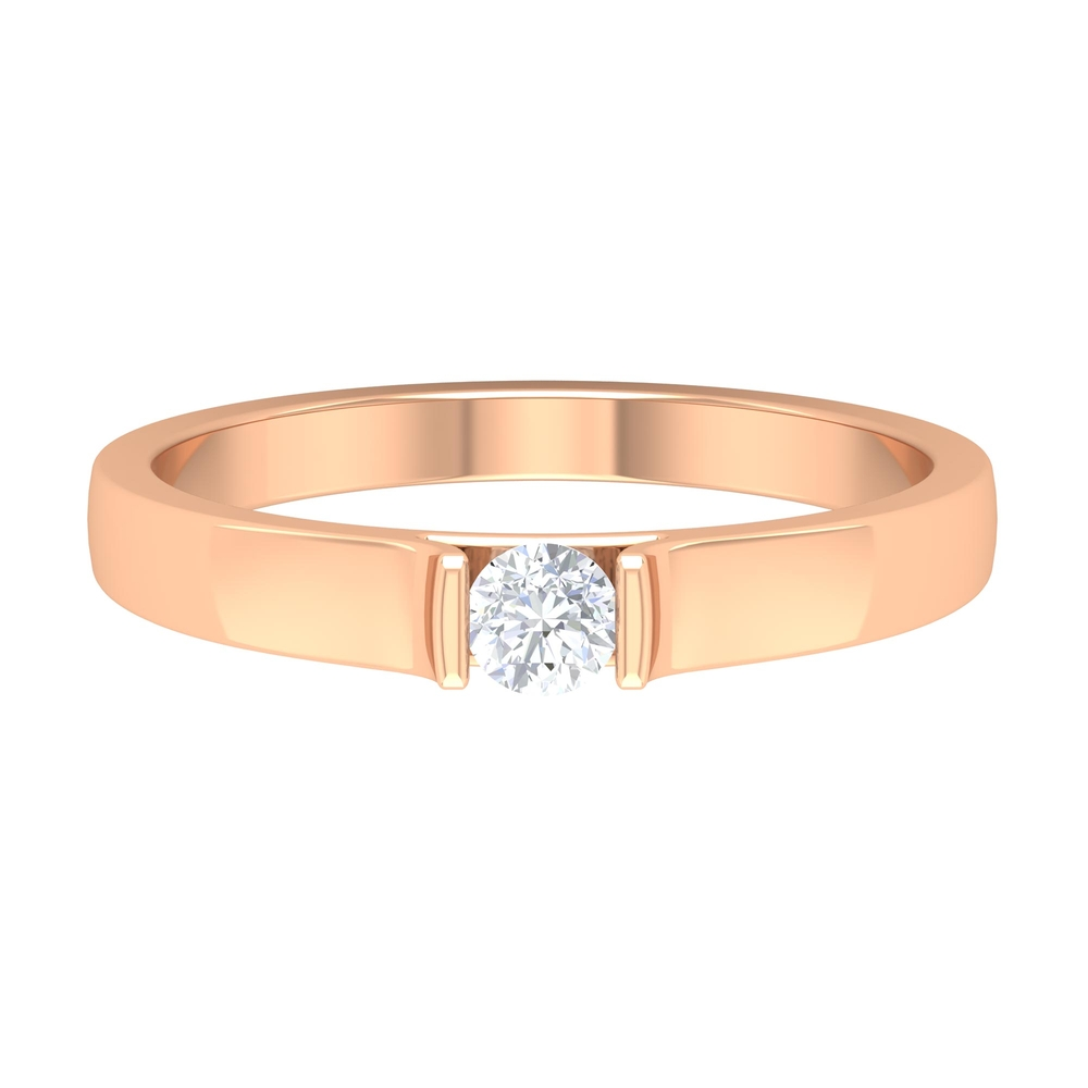 Bar Set Diamond Simple Solitaire Unisex Band Ring