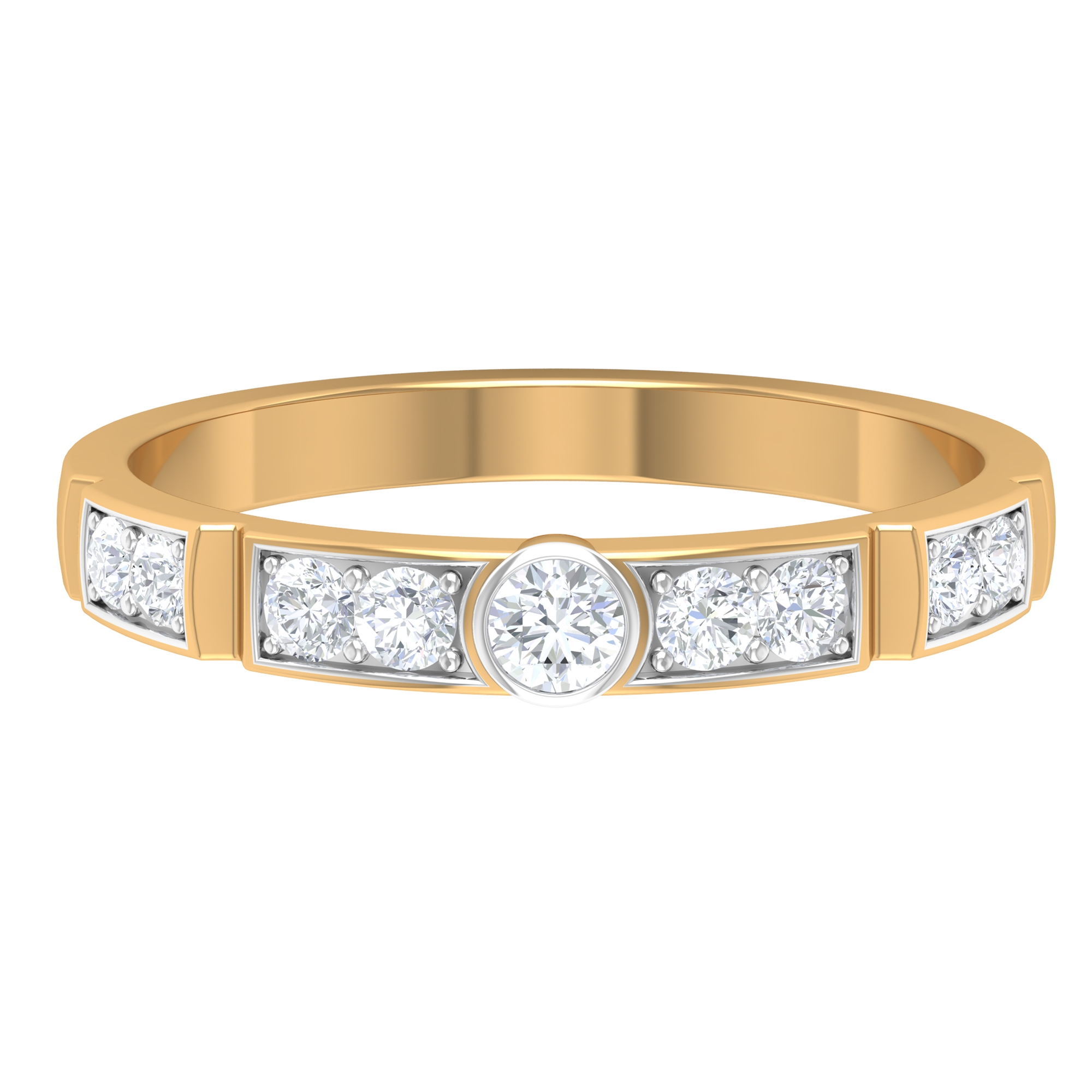 1/2 CT Bezel Set Diamond Band in Two Tone Gold