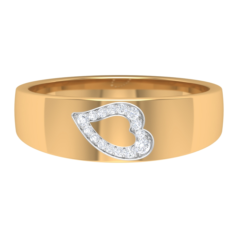 1/4 CT Unisex Diamond Heart Band Ring in Prong Setting