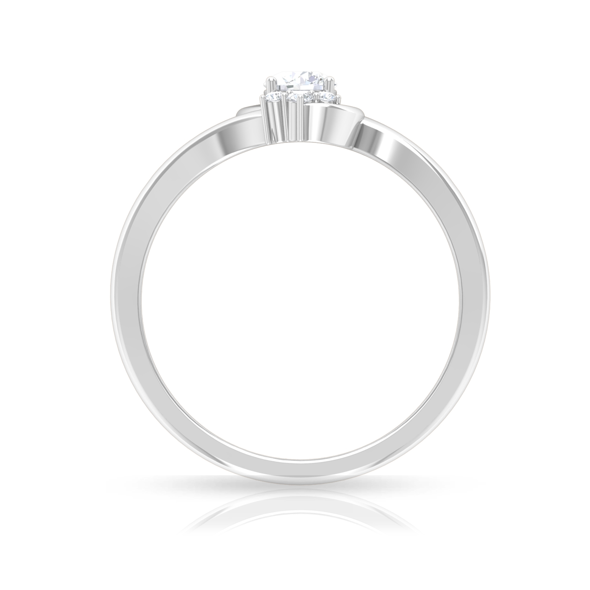 1/4 CT Round Cut Diamond Cluster Bypass Ring in Prong Setting