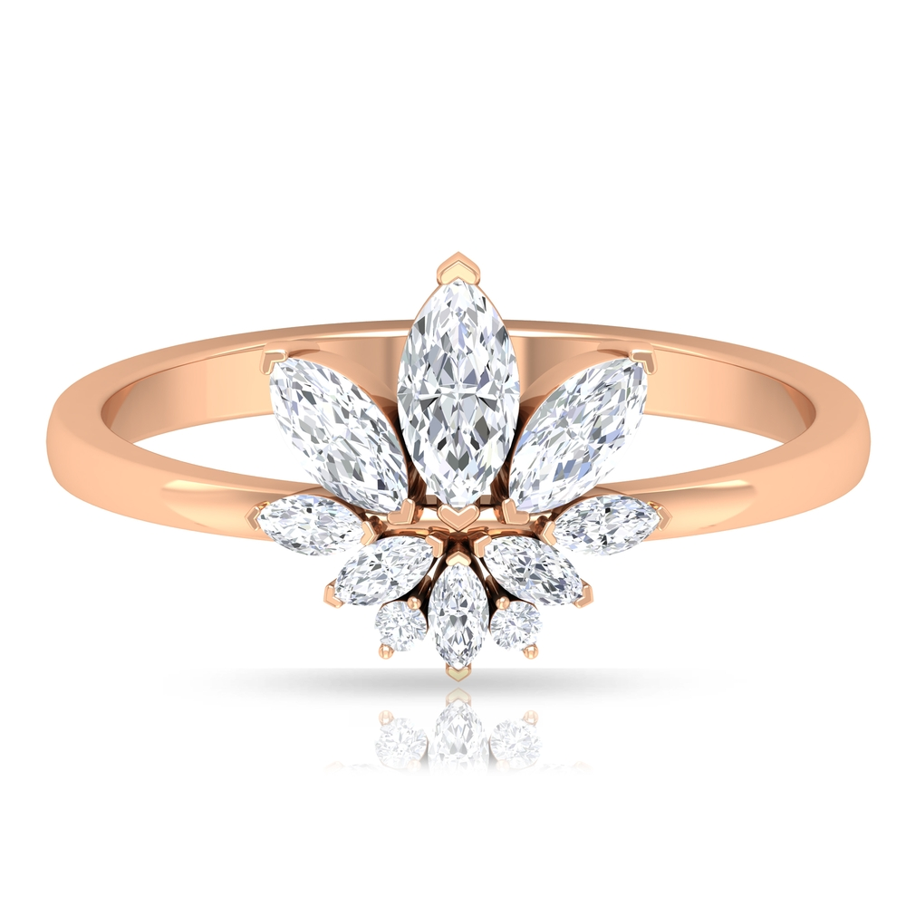 1/2 CT Heart Prong Set Diamond Floral Cocktail Ring