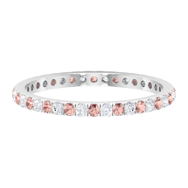 Stackable Ring with 0.50 CT Created Morganite and Diamond