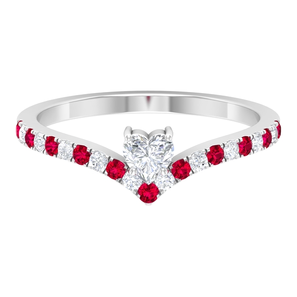 1/2 CT Heart Shape Diamond and Created Ruby Chevron Promise Ring