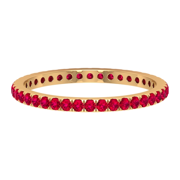1/2 CT Created Ruby Eternity Stackable Ring