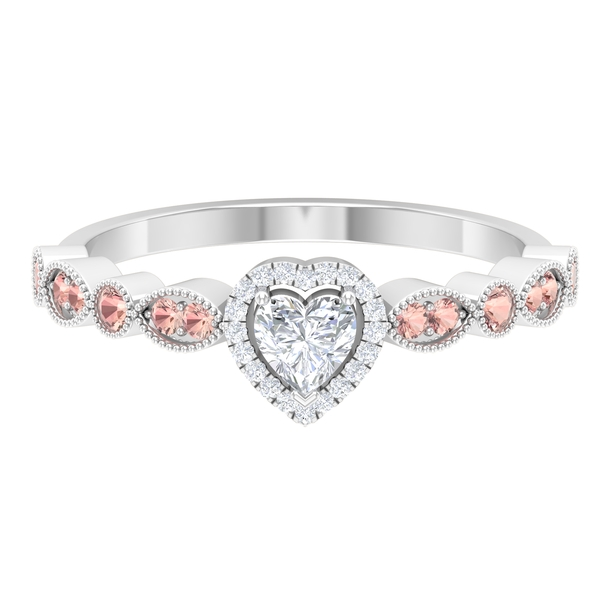 1/2 CT Heart Shape Diamond and Created Morganite Side Stone Engagement Ring