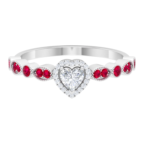 1/2 CT Heart Shape Diamond and Created Ruby Side Stone Engagement Ring