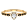 1/2 CT Heart Cut White and Black Diamond Side Stone Engagement Ring