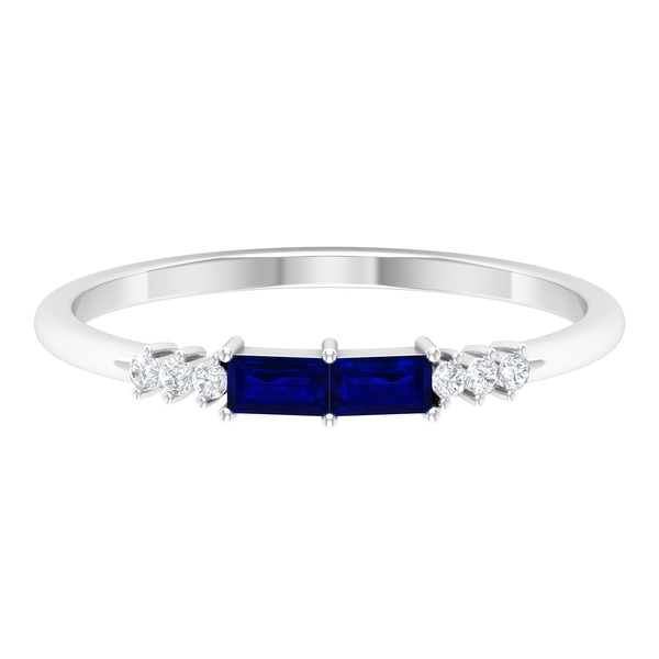 1/2 CT Baguette Cut Created Blue Sapphire and Diamond Two Stone Promise Ring