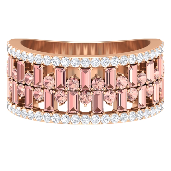 2.25 CT Designer Wide Wedding Ring with Diamond and Created Morganite