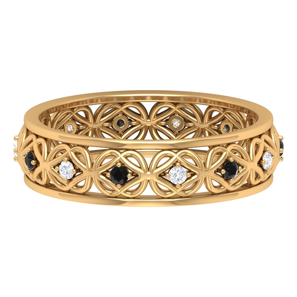 1/4 CT Black and White Diamond Celtic Knot Band Ring for Women