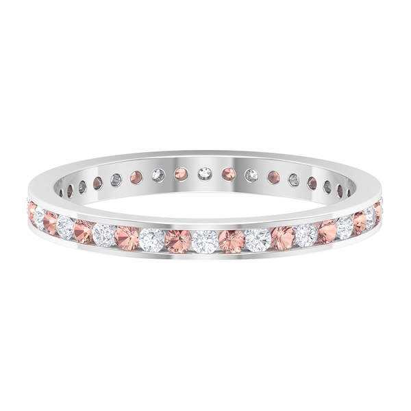 Eternity Band Ring with 0.50 CT Created Morganite and Diamond in Channel Setting