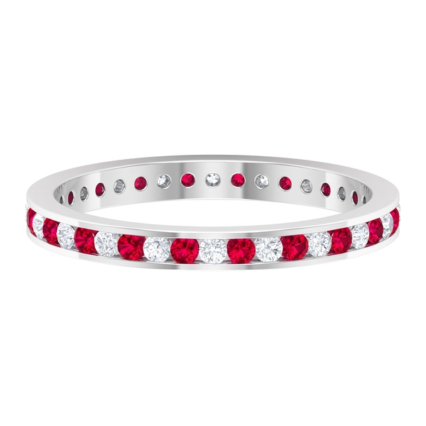 1/2 CT Channel Set Created Ruby and Diamond Full Eternity Ring For Women
