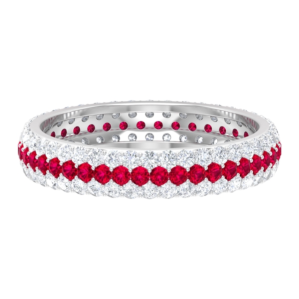 1.75 CT Diamond and Created Ruby Full Eternity Wedding Band Ring