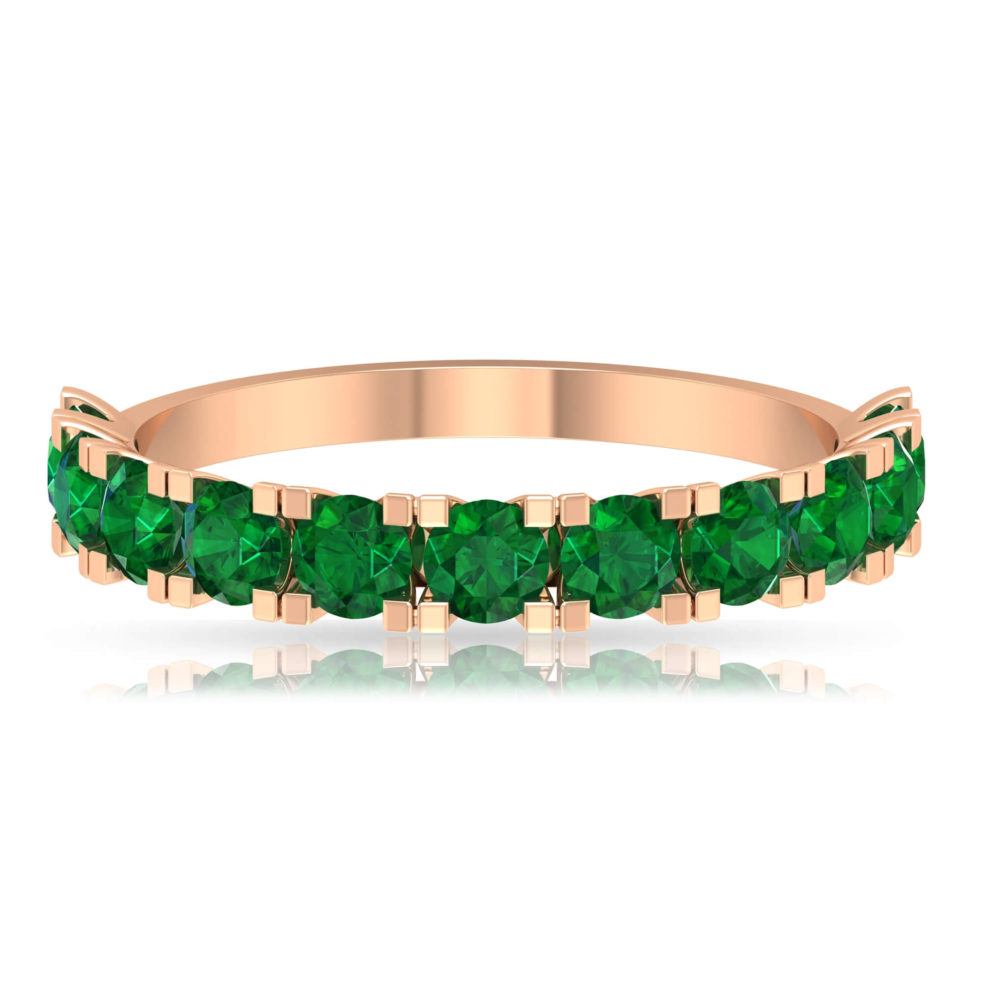 May Birthstone 1.25 CT Fishtail Set Emerald Semi Eternity Stackable Band Ring for Women