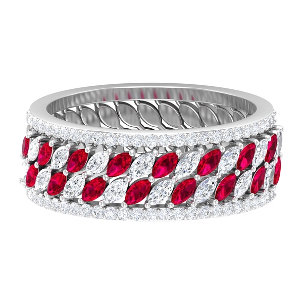 1.25 CT Created Ruby and Diamond Accent Wedding Band Ring