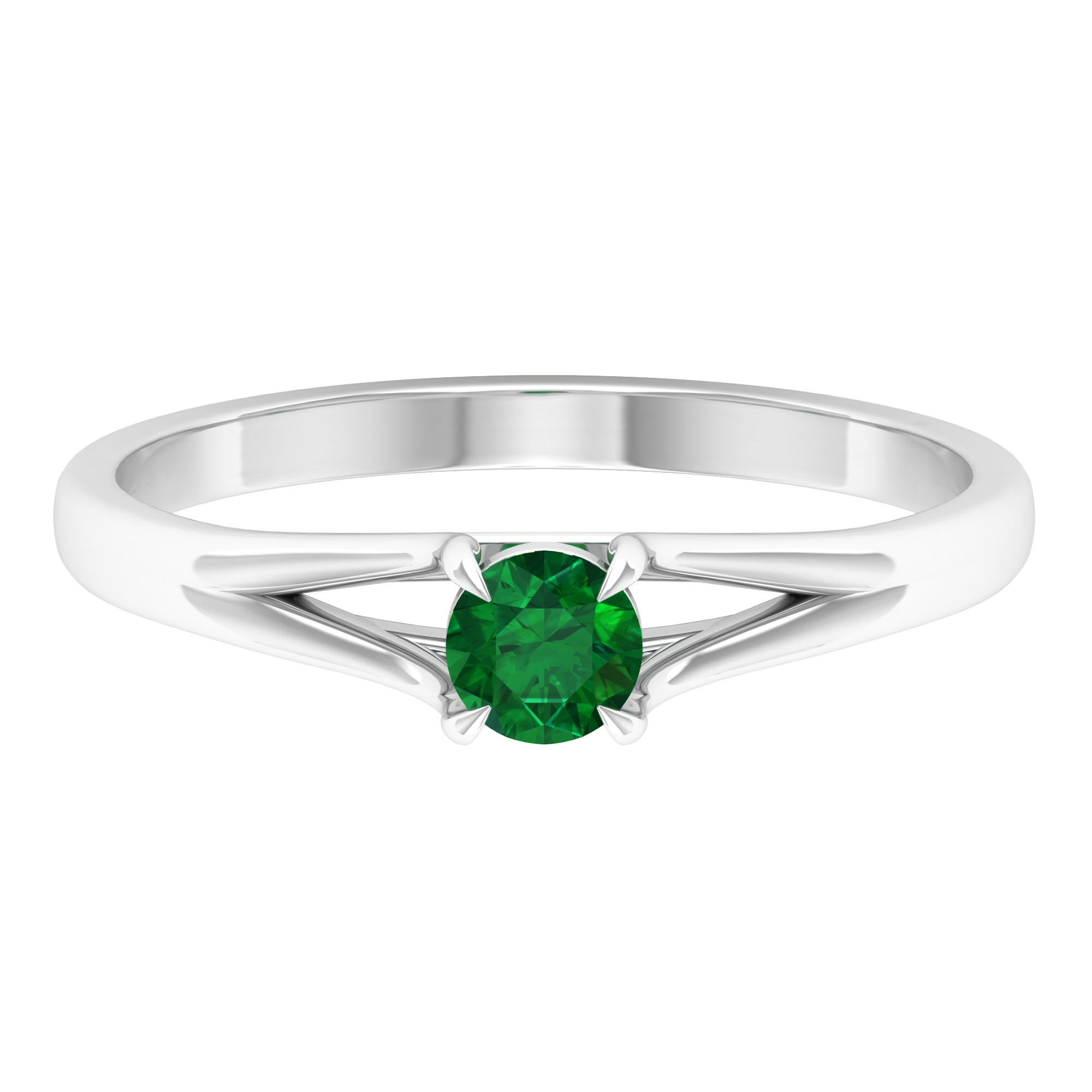 Claw Set 4 MM Round Cut Solitaire Emerald Split Shank Ring