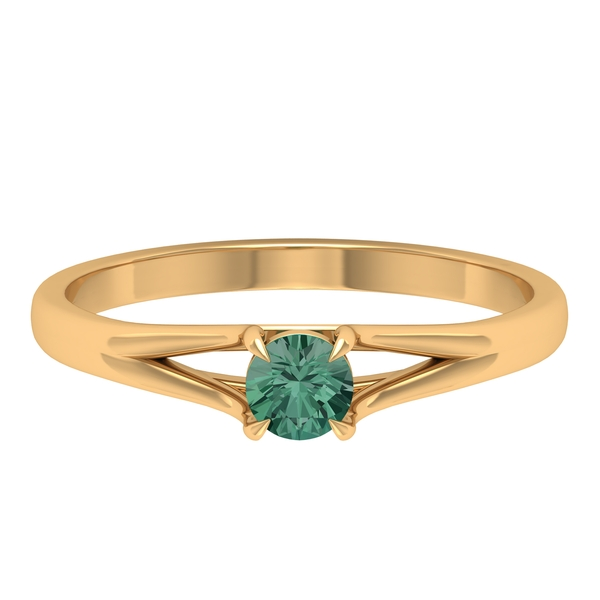 1/4 CT Claw Set Green Sapphire Split Shank Promise Ring