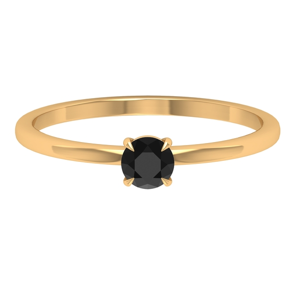 1/4 CT Claw Set Black Diamond Solitaire Ring For Women