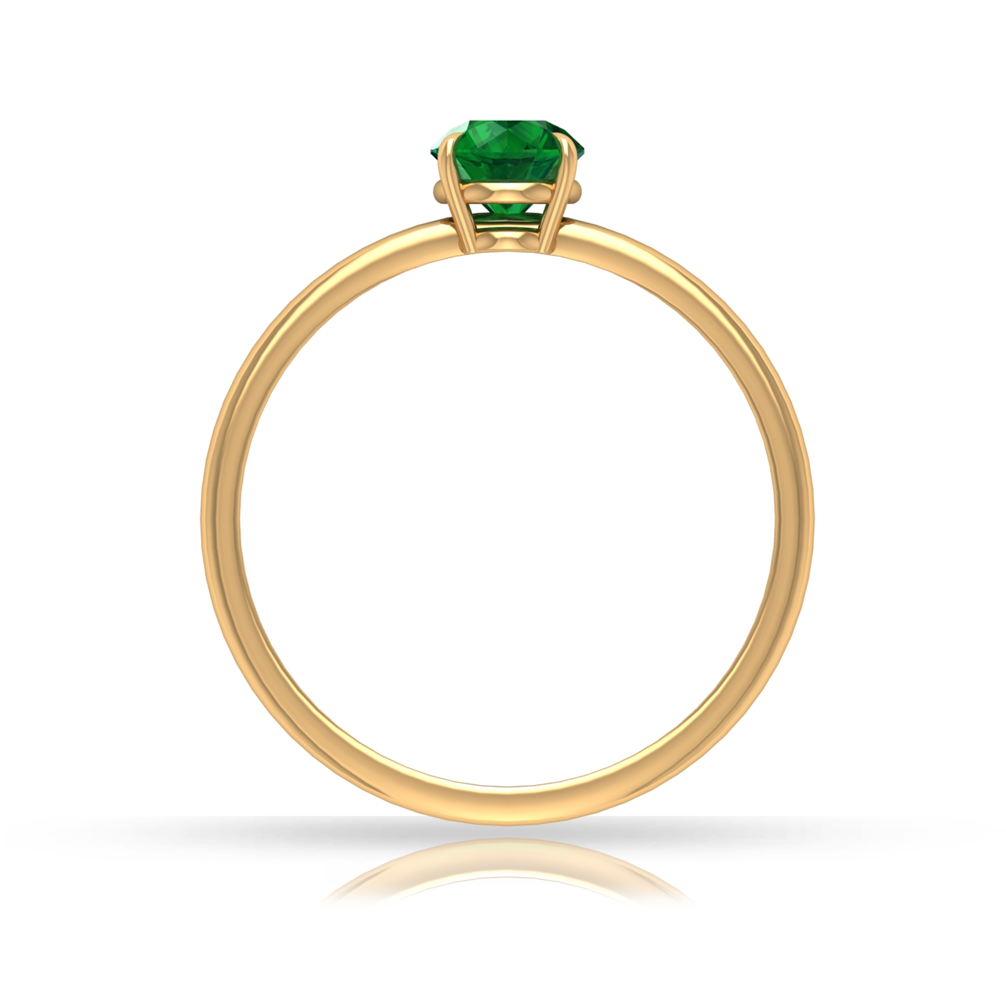 5 MM Round Cut Emerald Solitaire May Birthstone Claw Set Ring for Women
