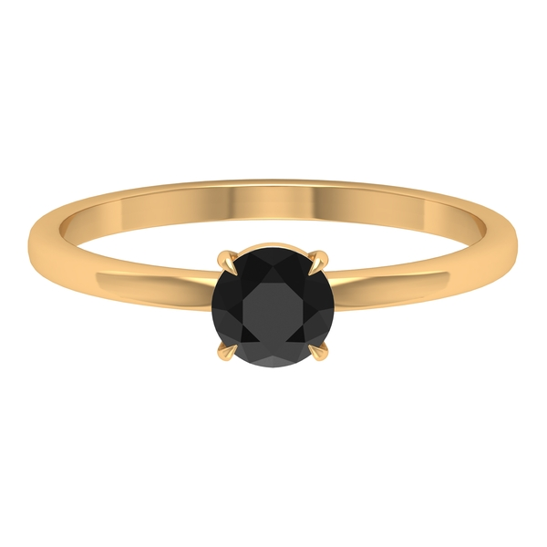 1/2 CT Black Spinel Solitaire Promise Ring