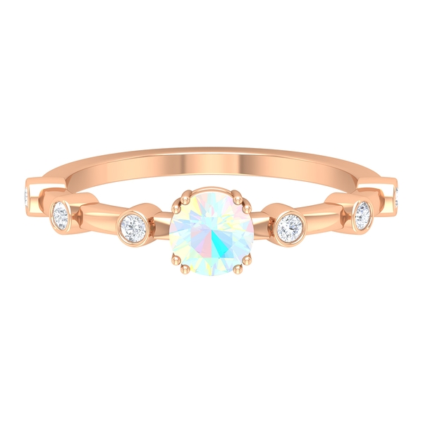 1/4 CT Double Prong Set Ethopian Opal Solitaire with Spaced Diamonds