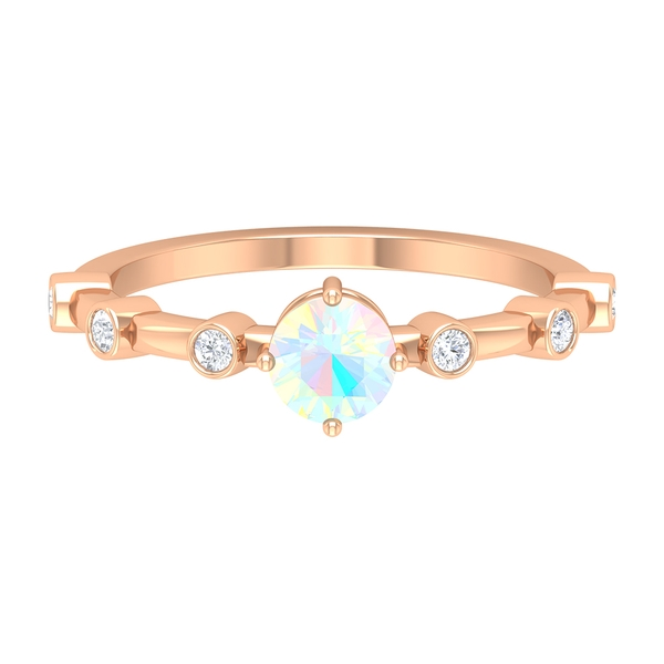 4-Prong Diagonal Set Ethopian Opal Solitaire with Spaced Diamonds