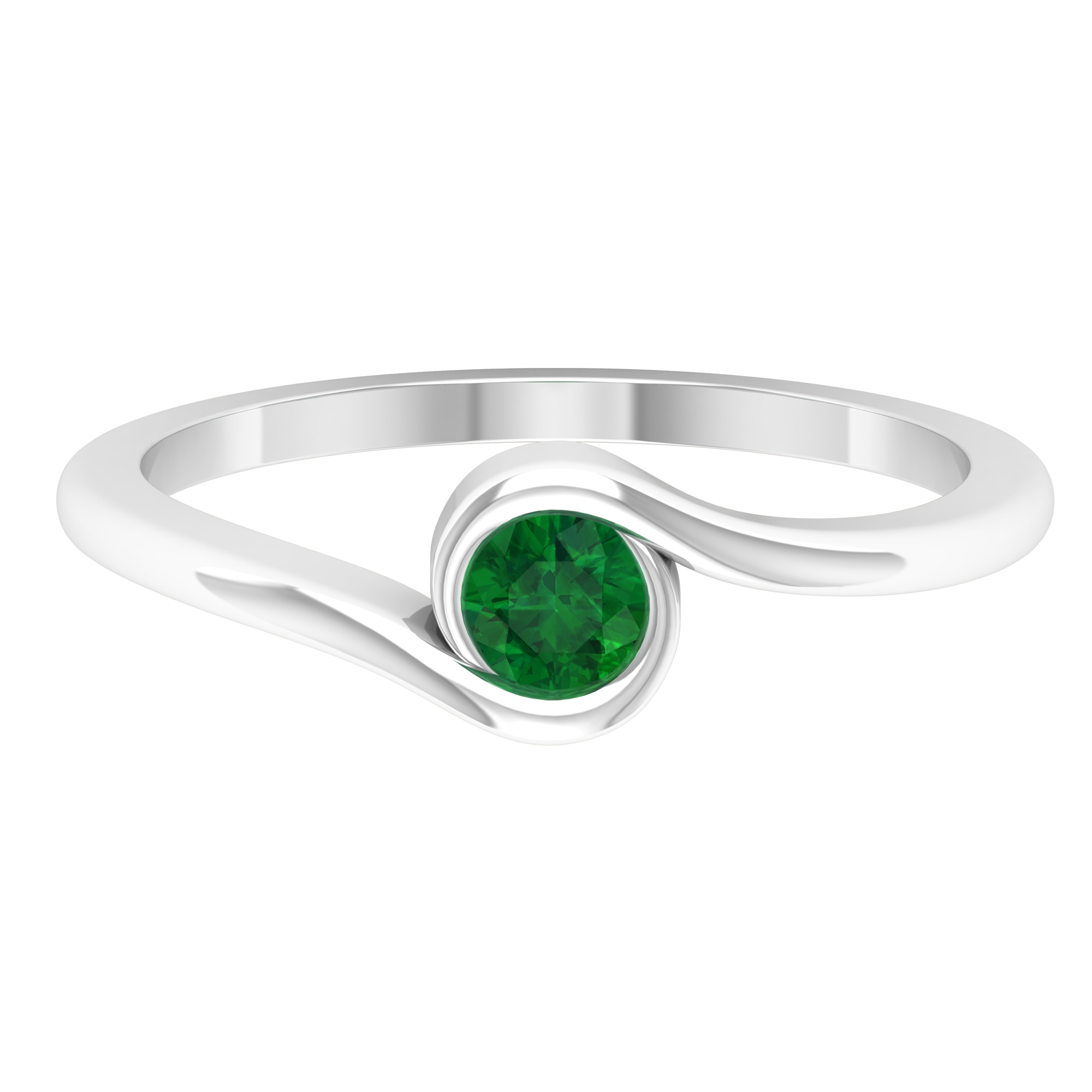 May Birthstone 4 MM Round Cut Emerald Solitaire Ring in Bypass Setting