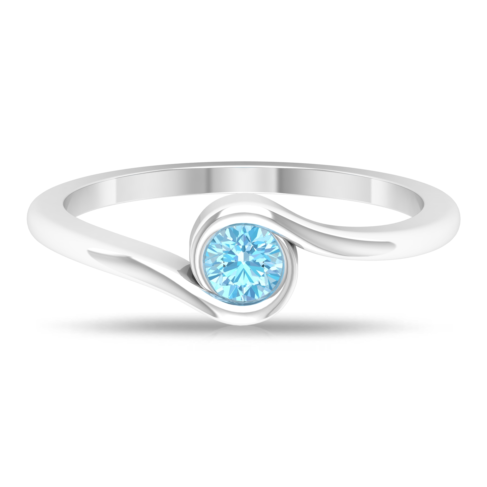 4 MM Round Cut Aquamarine Solitaire Bypass Set Ring with Bypass Shank