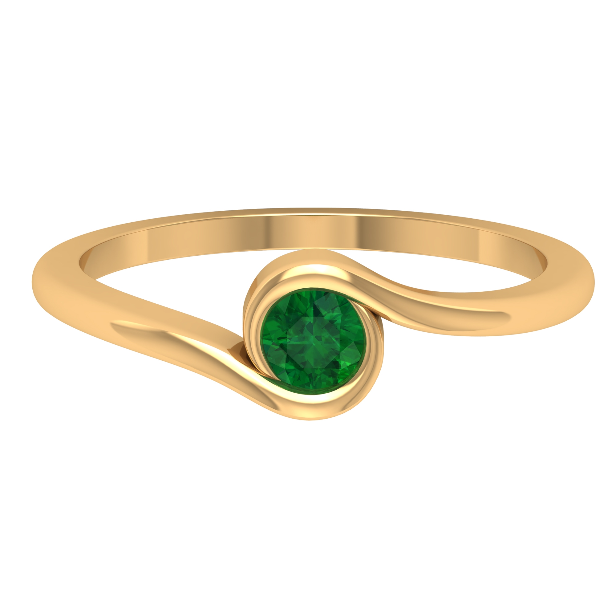 May Birthstone 4 MM Emerald Solitaire Ring in Bezel Setting with Bypass Shank
