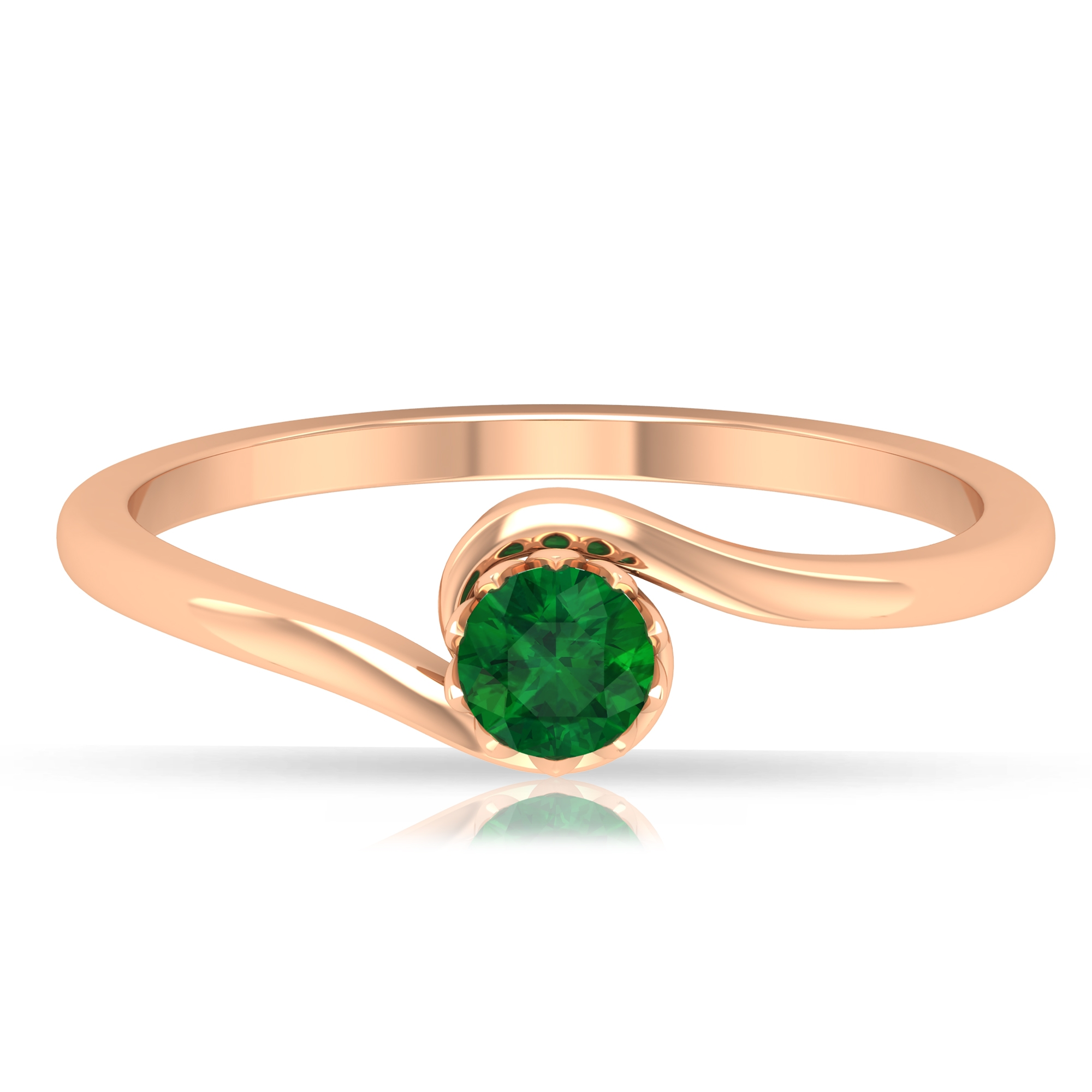 May Birthstone 4 MM Emerald Solitaire Ring in Lotus Basket Setting with Bypass Shank