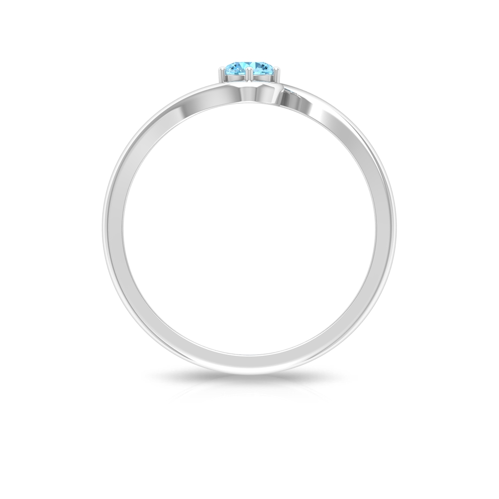 4 MM Round Cut Aquamarine Solitaire Six Prong Set Ring with Bypass Shank