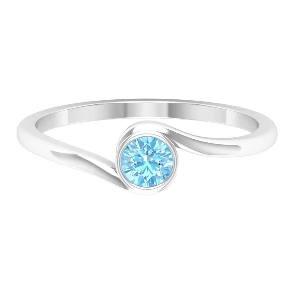 4 MM Round Cut Aquamarine Solitaire Bezel Set Ring with Bypass Shank