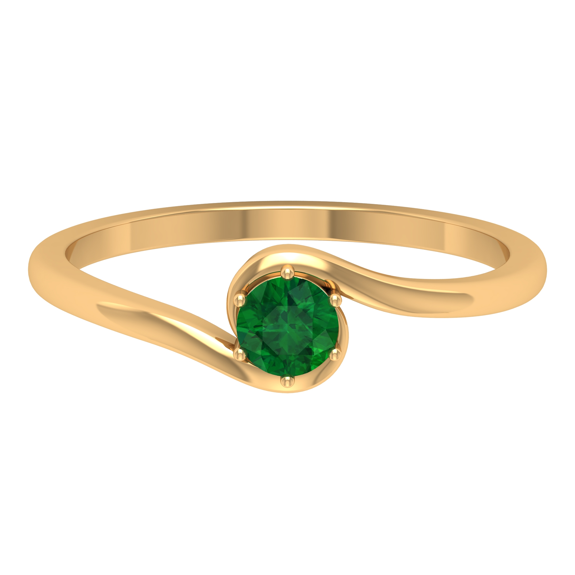 May Birthstone 4 MM Emerald Solitaire Ring in 6 Prong Setting with Bypass Shank