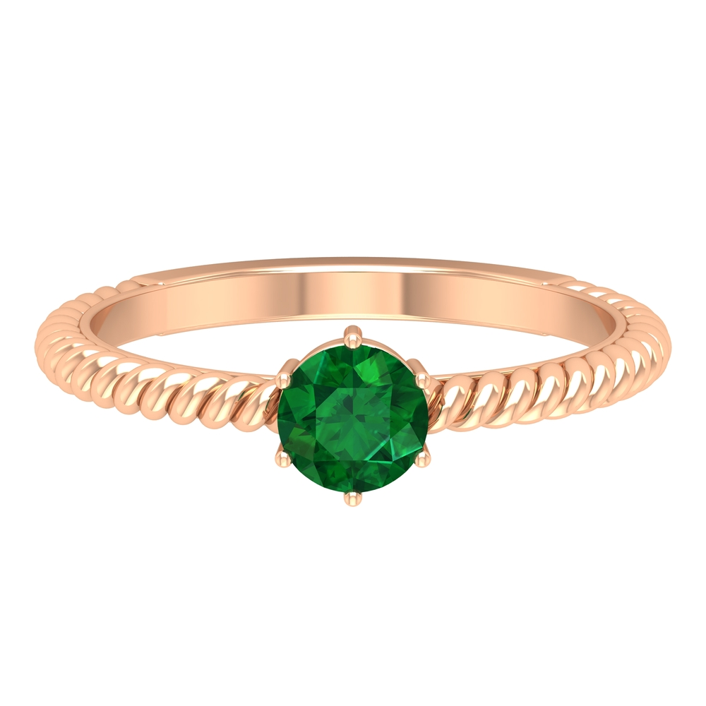 May Birthstone 5 MM Round Cut Emerald Solitaire Ring in 6 Prong Setting with Twisted Rope Frame