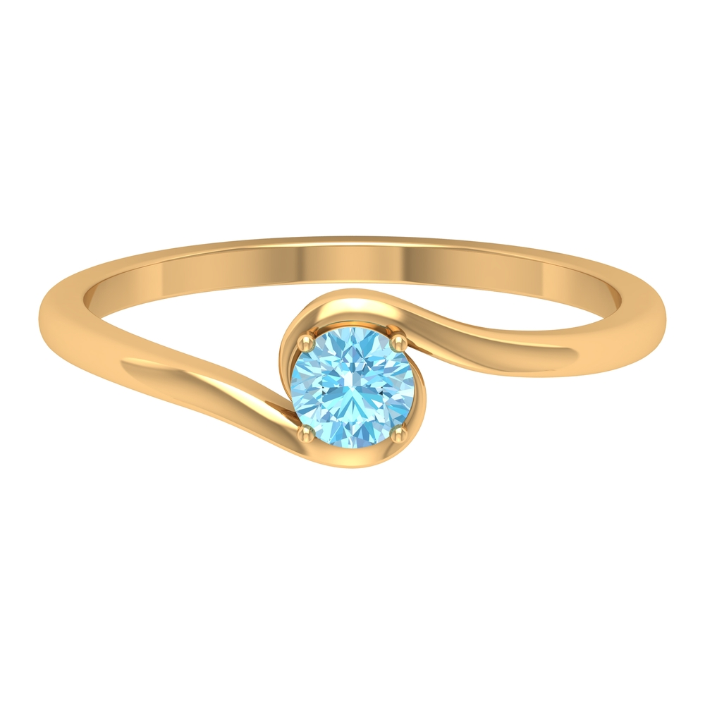 4 MM Four Prong Set Round Cut Aquamarine Solitaire Bypass Ring