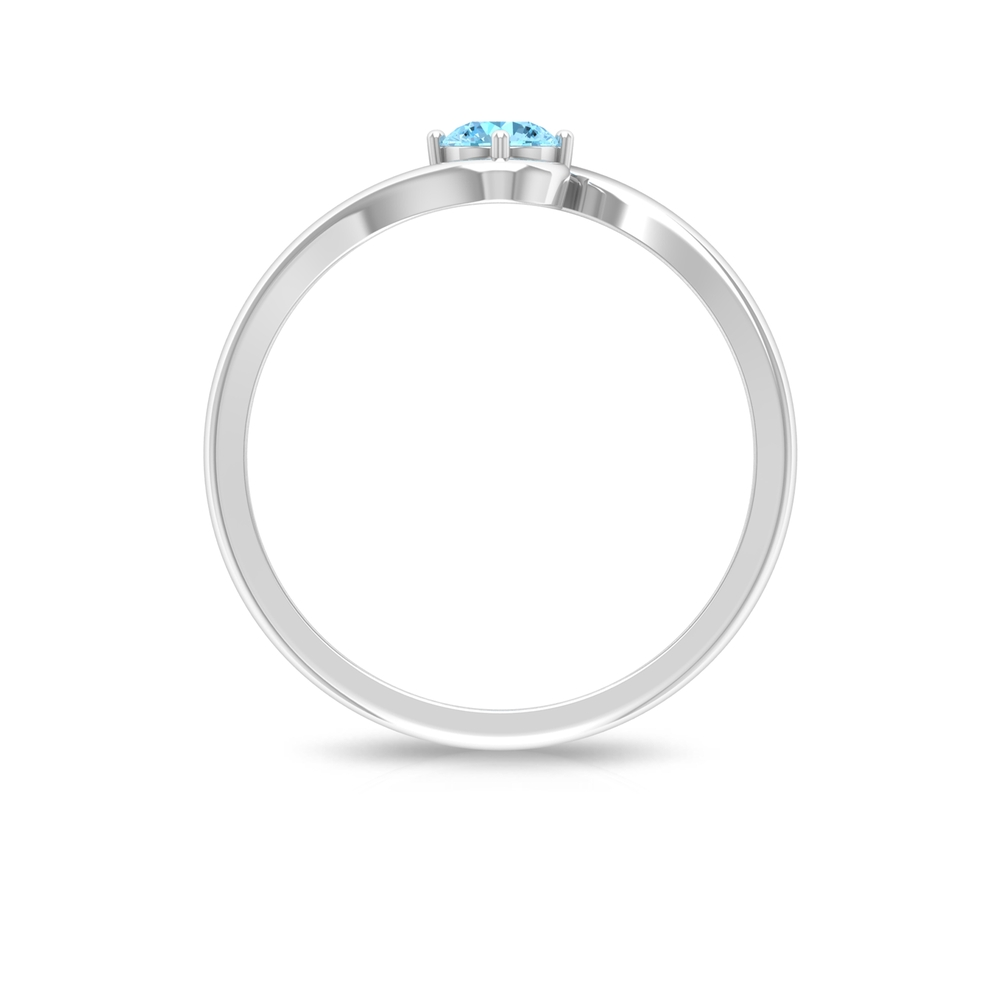 4 MM Round Cut Aquamarine Solitaire Four Prong Diagonal Set Ring with Bypass Shank