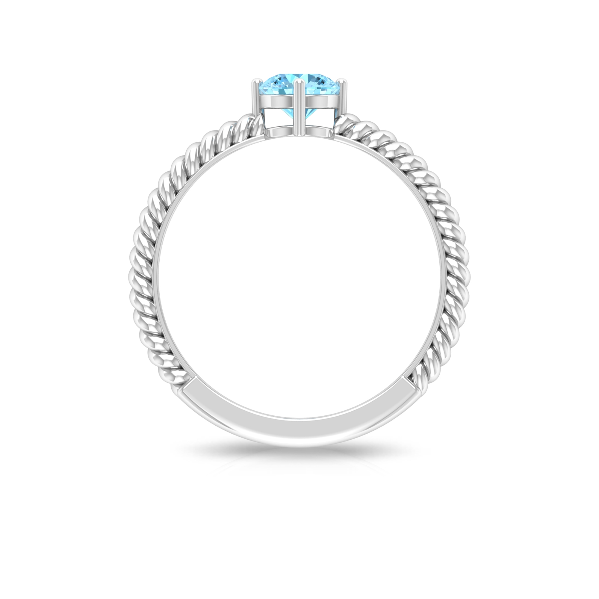 5 MM Four Prong Diagonal Set Round Cut Aquamarine Solitaire Twisted Rope Ring