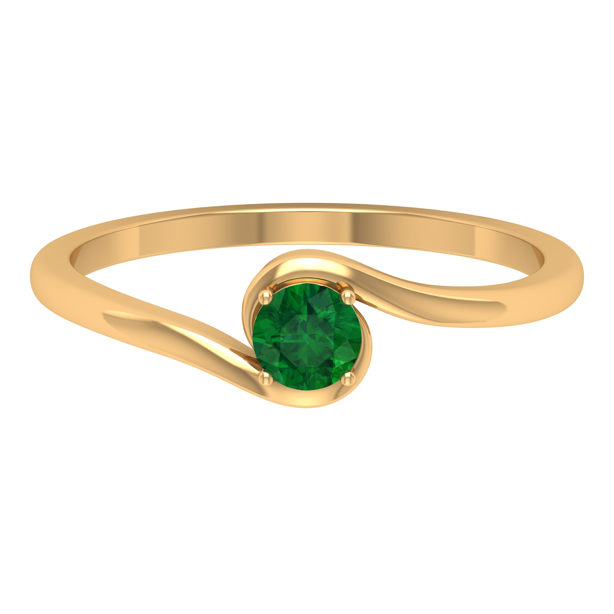 May Birthstone 4 MM Emerald Solitaire Ring in 4 Prong Setting with Bypass Shank