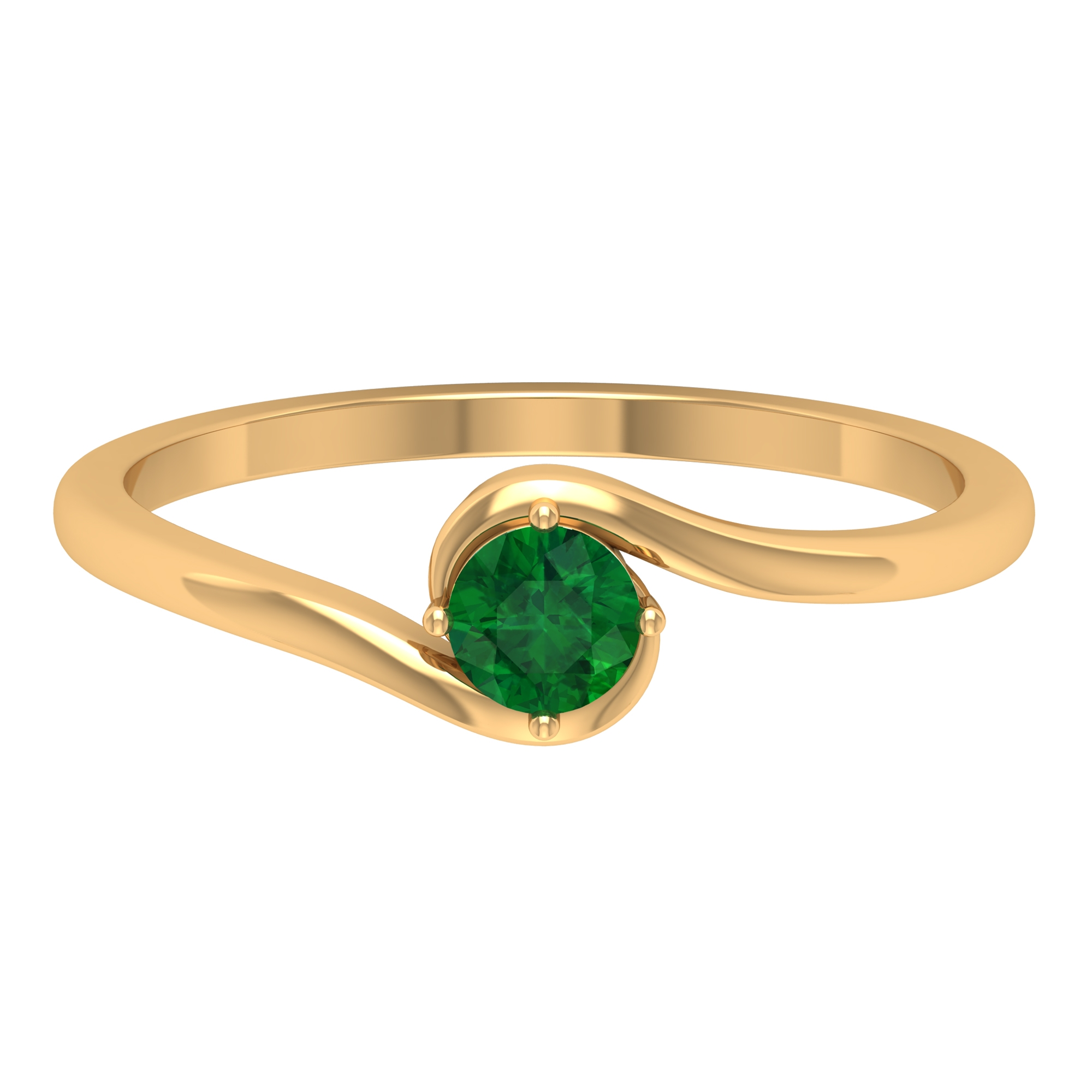 May Birthstone 4 MM Emerald Solitaire Ring in 4 Prong Diagonal Setting with Bypass Shank