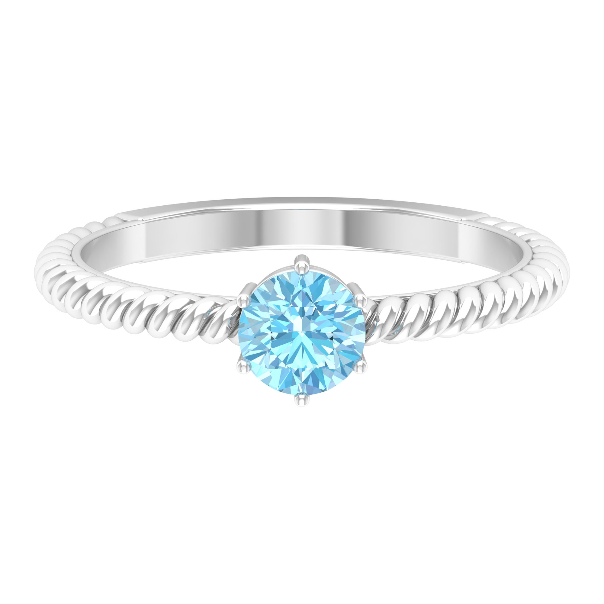 5 MM Six Prong Set Round Cut Aquamarine Solitaire Twisted Rope Ring