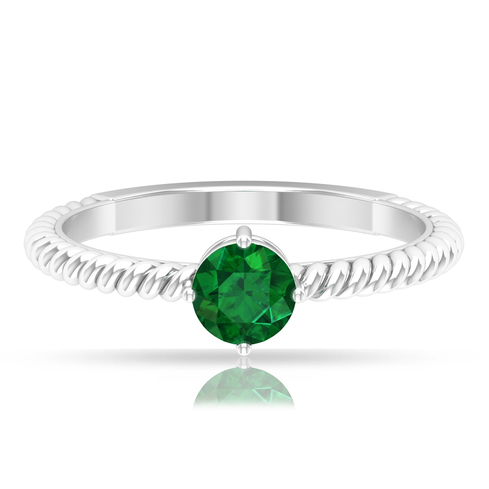 May Birthstone 5 MM Emerald Solitaire Ring in 4 Prong Diagonal Setting with Twisted Rope Frame