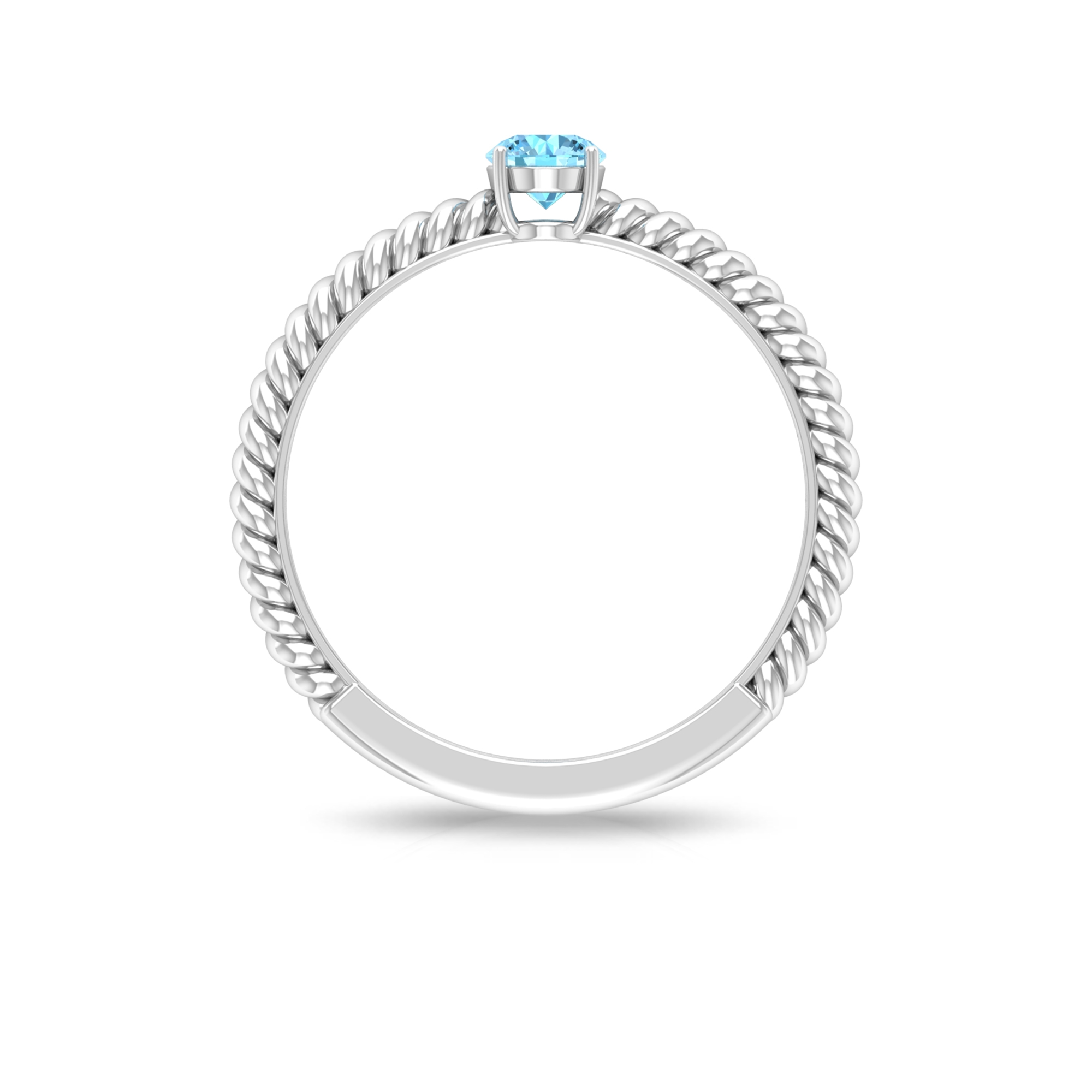 4 MM Prong Set Round Cut Aquamarine Solitaire Ring with Twisted Rope Shank